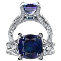 Alexandrite And Diamond Engagement Ring Fashion Ring 14K White Gold Wedding Ring Diamond Cushion Cut 4.69CT Alexandrite W31A14W