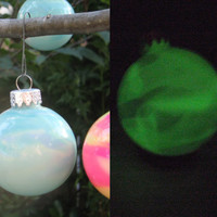 Special SALE price! Set of 4 Glow in the dark, hand painted, Glass Ornaments, Glass Bauble. Geeky Home Decor. Science Art. Garden ornaments.