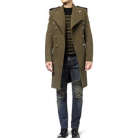 PRODUCT - Balmain - Double-Breasted Wool and Cotton-Blend Coat - 373051 | MR PORTER