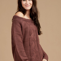 Altar'd State Cable Off The Shoulder Sweater - Pullovers - Sweaters - Apparel