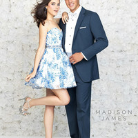 Madison James 15-178 Floral Print Short Homecoming Cocktail Prom Dress