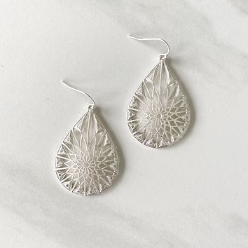 Silver Dollar Geometric Earring