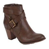 Brown Buckle Booties - Dirty Laundry
