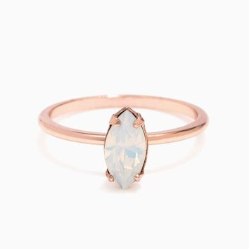 Tiny Marquis Ring Rose Gold Opal