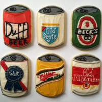 Six Pack of Beer / Perfect Fathers Day Gift / Hipster Beer Sugar Cookies with Buttercream Frosting