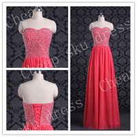 Hot Sale A-line Sweetheart Chiffon Sexy Lace-up Beads Long Bridesmaid Dress Party Dress Evening Dress Prom Dress Formal Dress 2014