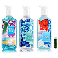 Bath & Body Works Deep Cleansing Hand Soap ISLAND VACATION Variety Pack - Coastal Water Lily, Endless Weekend & Honolulu Sun - Pack of 3 With a Jarosa Bee Organic Peppermint Lip Balm