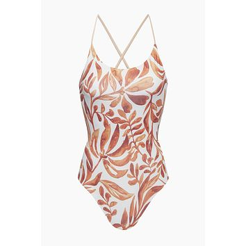 Anglet Interlaced Back One Piece Swimsuit - Orange Kelp Print