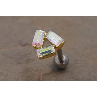 Gold Triangle Cartliage Earring Tragus Conch Helix Piercing