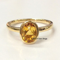 Oval Citrine Engagement Ring 14K Yellow Gold 6x8mm  Bezel Solitaire