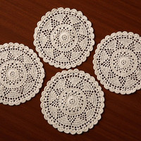 "Vintage Star Doilies- Handmade CROCHET DOILIES- Table  Decor- Round Placemat - Coaster - Natural and White Color - 6"" Inches"