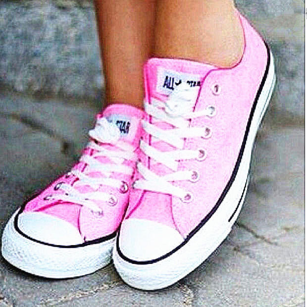 """Image of """"Converse"""" Fashion Canvas Flats Sneakers Sport Shoes Low tops Pink"""