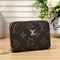 Louis Vuitton LV Fashion Leather Zipper Purse Wallet Bag