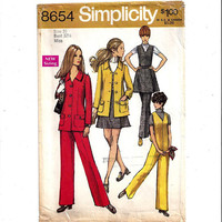 Simplicity 8654 Pattern for Misses' Jacket, Jumpsuit, Mini Wrap Skirt, Size 10 From 1969, Vintage Pattern, Home Sewing, 1969 Fashion Sewing