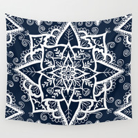 Cream Floral Pattern on Navy Wall Tapestry by Laurel Mae | Society6