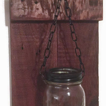 Rustic Wall Decor - Reclaimed Wood Hanging Wood Mason Jar Candle Holder - Candle Wall Sconce - Mason Jar Candle Holder - 2 Mason Jar Sconce
