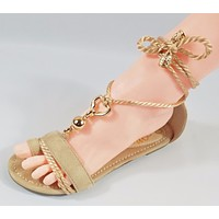 So Me Beverly Soft Rope Ankle Wrap Flat Sandal Shoe 6-10 Nude Beige