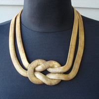 Vintage 1960's Art Deco Gold Double Snake Chain Necklace Wide Love Knot