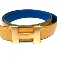 Auth HERMES H Belt Yellow Blue Gold Leather & Metallic Material Circle Z Belt
