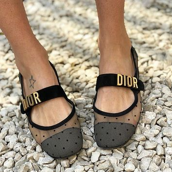 Dior spring summer series mesh single shoes