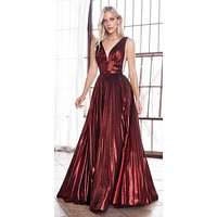 Long A-Line Metallic Pleated Burgundy Gown Deep V-Neckline And Leg Slit