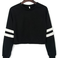Black Long Sleeve Contrast PU Detail Crop Top
