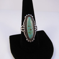 Vintage Sterling Silver Turquoise Ring, Native American Ring, Navajo Ring, Vintage Turquoise Ring Size 9
