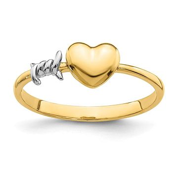 14k Yellow Gold with White Rhodium Barb Wire and Heart Ring
