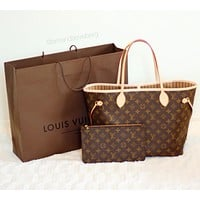 Louis Vuitton LV Trending Ladies Shopping Bag Leather Tote Handbag Shoulder Bag Purse Wallet Set Two-Piece I
