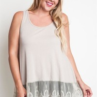 Plus Size Lace Ribbed Tank