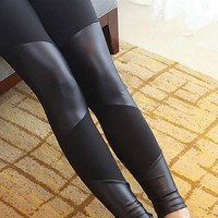 Four Way Pattern Leather (Faux) Leggings