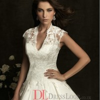 Lace V–Neck Ball Gown Cap Sleeves Wedding Dress with Chapel Train AB8875