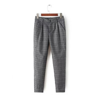 Women's Fashion Plaid Print Casual Skinny Pants [4919623300]