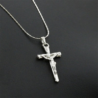 2016 Fashion Trendy Stainless Steel Simple Little Cross Pendant Necklace For Men or Women Clavicle chain necklace