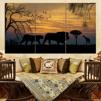 No Frame Mordern Oil Painting Animal Lion Silhouette Sunset Landscape Wall Art Home Decor Canvas Pictures for Living Room 3pcs