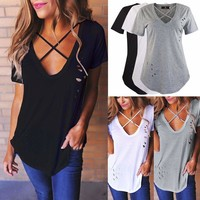 Womens V Neck T-Shirt Short Sleeve Loose Casual Ladies Tops Blouse