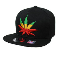 * Embroidered Rasta Colored Weed Plant Logo Snap Back In Black