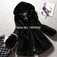 Winter Plus Size Casual Women's Faux Fur Coats Medium-long Rabbit Fur Coat and Jackets hooded For Women Winter Coats Black