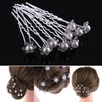 20pcs/pack Wedding Bridal Pearl Hairpins Flower Crystal Rhinestone Diamante Hair Clips Bridesmaid Women Hair Jewelry Accessories
