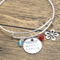 12pcs Ohana Means Family bracelet Inspired by Lilo & Stitch. Silver colored crystals for women or girls bangle
