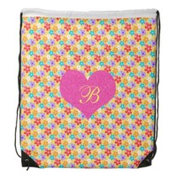 Cute Floral Pink Heart Drawstring Backpack