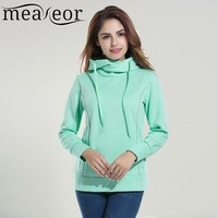 Meaneor Women High-Collar Hoodie Casual Hooded Long Sleeve Thick Cotton Hoody Autumn Sweatshirts Hoodies and Winter Base Hoody