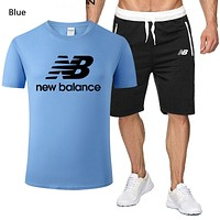 New Balance Summer New Fashion Letter Print Sports Leisure Top And Shorts Two Piece Suit Men Blue