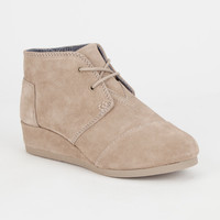 Toms Girls Desert Wedge Boots Taupe  In Sizes
