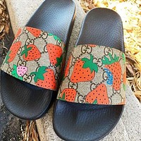 Gucci GG Geranium flowers Slippers Three colors available Red Floral-2