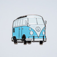Camper Van Pin Badge-Red/Pale Blue/Dark Blue/Orange Enamel