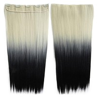Anime Cosplay Wig Gradient Ramp 5 Cards Hair Extension   613TBlack#