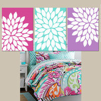 Pink Purple Aqua Wall Art CANVAS or Prints Bedroom Wall Art Bathroom Art Colorful Floral Wall Art Flower Burst Dahlia Set of 3 Home Decor