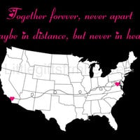 Together Forever US Map Print- relationship present, anniversary canvas, long distance friend, together forever, never apart distance