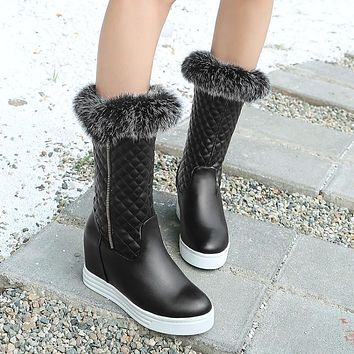 Fashion Women Ankle Boots for Autumn and Winter New Arrival Chunky Heel Pumps Fur 3873